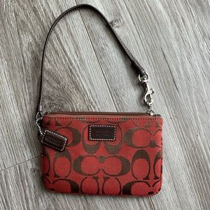 COACH Red & Brown Wristlet
